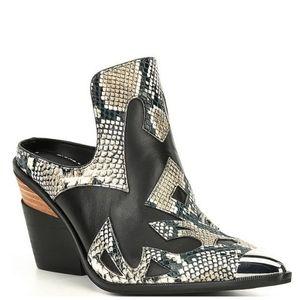 Western Mules High Heel Cowboy Boots Snakeskin New